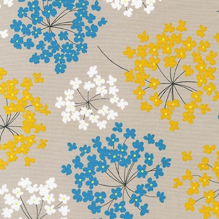 Robert Kaufman Canvas, Sevenberry Blossoms in Summer, Fabric Half-Yards