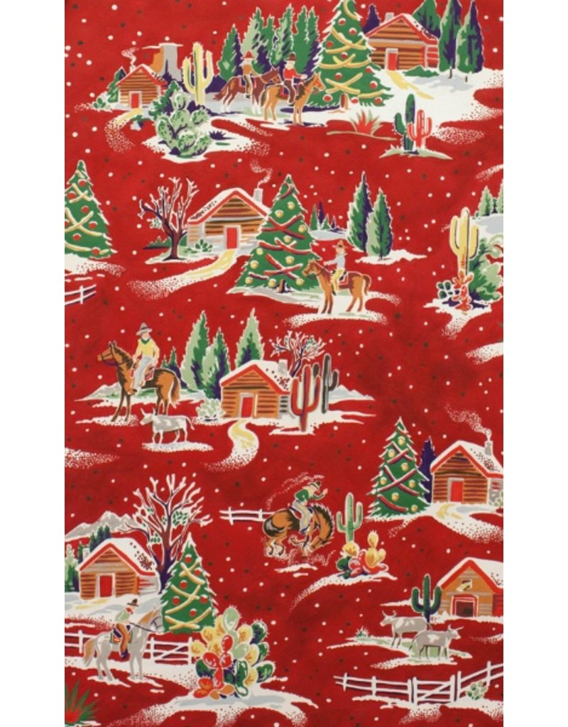 Alexander Henry Fabrics Christmas Time, Western Winter in Red, Fabric Half-Yards