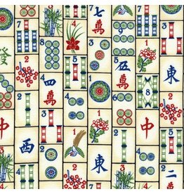 Timeless Treasures Mahjong Tiles in Ivory, Fabric Half-Yards