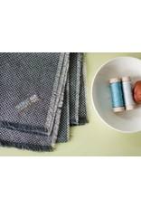 Carolyn Friedlander Linen, Euclid Essex Yarn Dyed, Check It in Graphite, Fabric Half-Yards