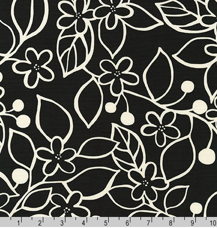 Robert Kaufman Canvas, Sevenberry Sketched Floral in Black, Fabric Half-Yards