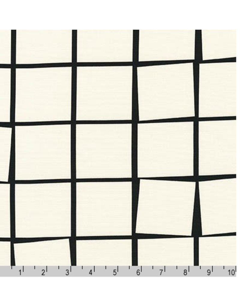 Robert Kaufman Canvas, Sevenberry Checker in White, Fabric Half-Yards