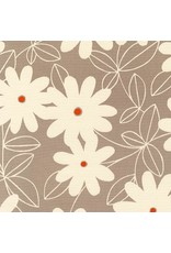 Robert Kaufman Canvas, Sevenberry Pop Flowers in Taupe, Fabric Half-Yards