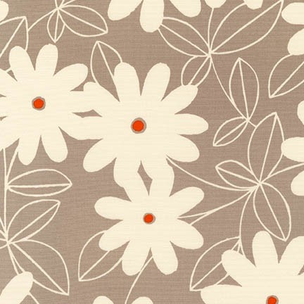 Robert Kaufman Canvas, Sevenberry Pop Flowers in Taupe, Fabric Half-Yards