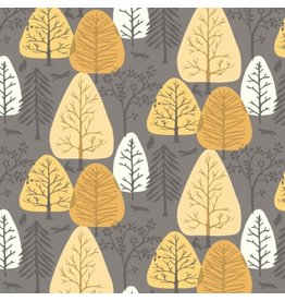 Rae Ritchie Timberland, Trees in Coffee, Fabric Half-Yards