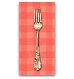 PD's Rae Ritchie Collection Trail Mix, Gingham in Coral, Dinner Napkin