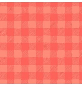 Rae Ritchie Trail Mix, Gingham in Coral, Fabric Half-Yards