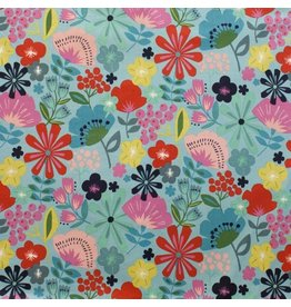Alexander Henry Fabrics Jersey, Knifty Knits, Pretty Poppy in Turquoise, Fabric Half-Yards