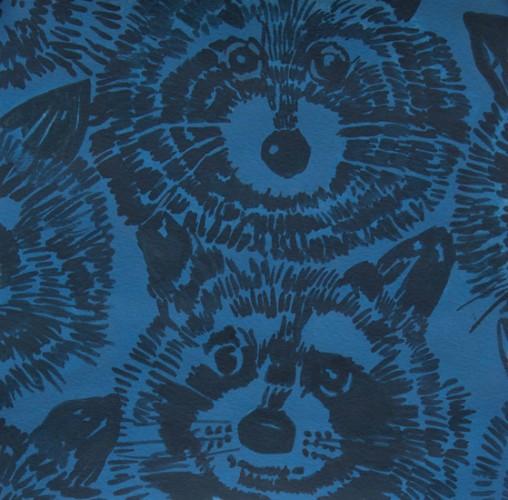 Alexander Henry Fabrics Jersey, Knifty Knits, Rocky Raccoon in Blue, Fabric Half-Yards