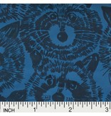 Alexander Henry Fabrics Jersey, Knifty Knits, Rocky Raccoon in Blue, Fabric Half-Yards