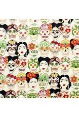 Alexander Henry Fabrics Jersey, Knifty Knits, Gotas de Amor in Tea, Fabric Half-Yards