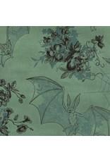 Alexander Henry Fabrics Jersey, Knifty Knits, Angela's Attic in Green, Fabric Half-Yards