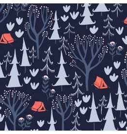 Rae Ritchie Trail Mix, Tents in Navy, Fabric Half-Yards