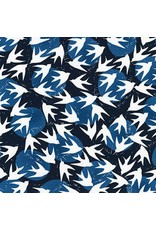 Valori Wells Marks, Birds in Indigo, Fabric Half-Yards