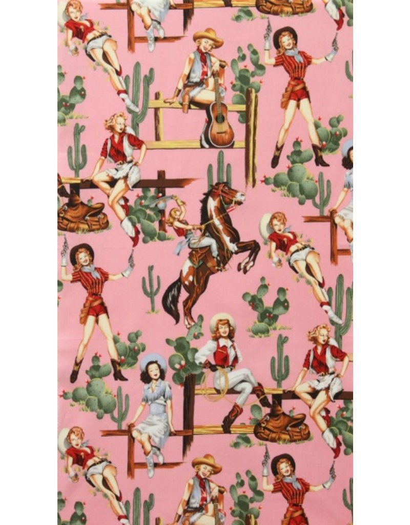 Alexander Henry Fabrics Santa Fe, From the Hip in Pink, Fabric Half-Yards