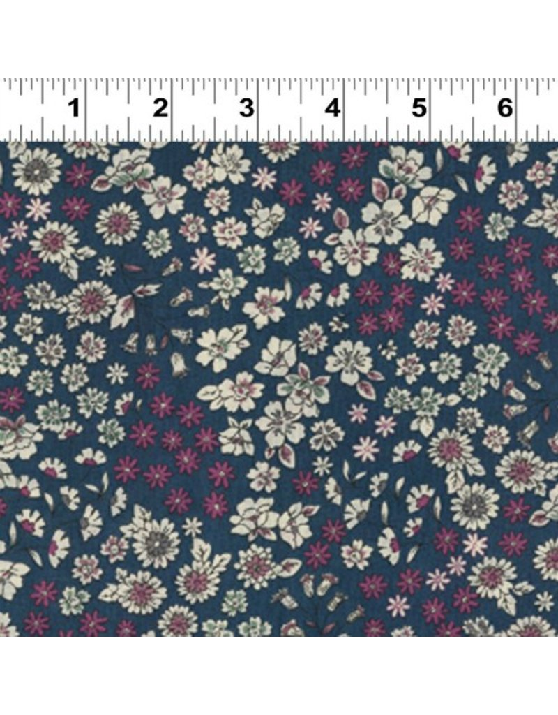Frou-Frou, France Cotton Lawn, Fleuri by Frou-Frou in Navy, Fabric Half-Yards