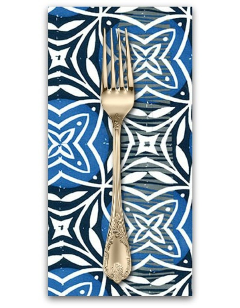 PD's Valori Wells Collection Marks, Imprint in Indigo, Dinner Napkin