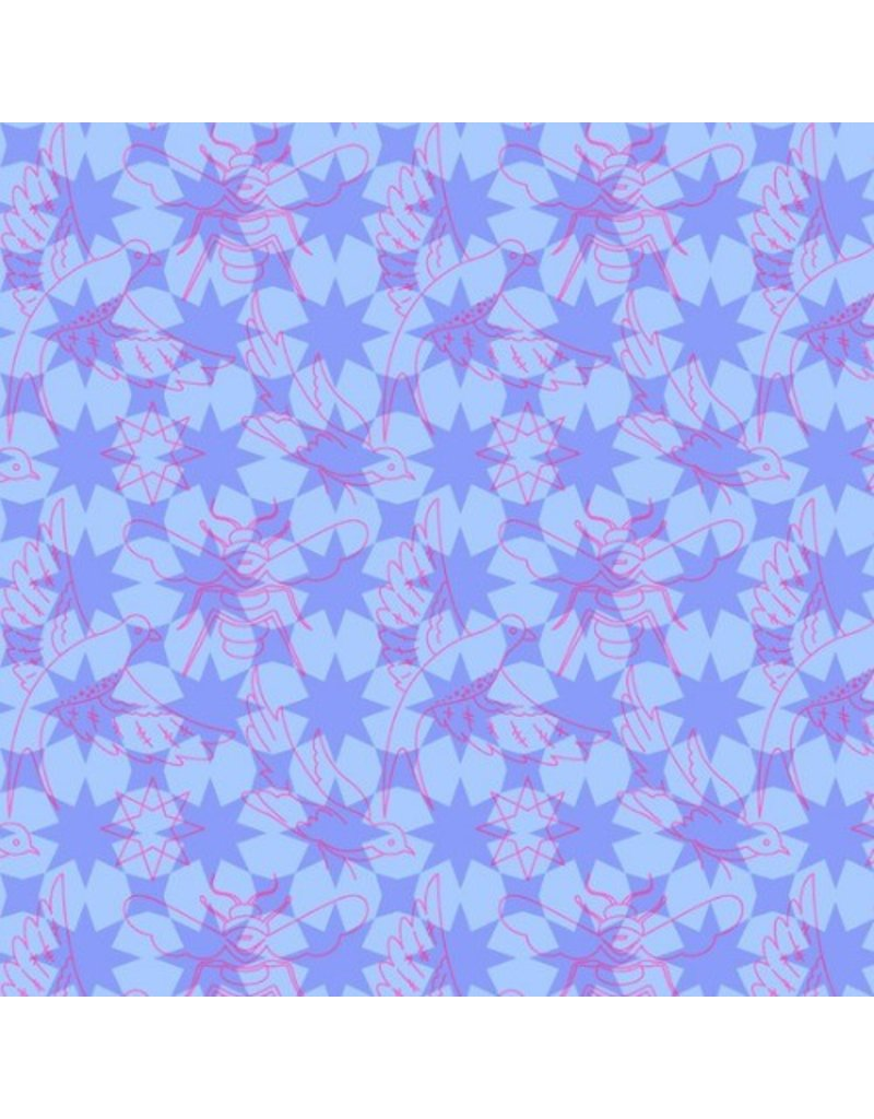 Alison Glass Seventy Six, Flourish in Periwinkle, Fabric Half-Yards