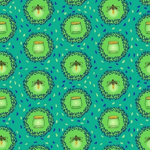 Michael Miller Brushed Cotton Flannel, Wee Wander, Glow Friends in Sea, Fabric Half-Yards