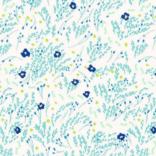 Michael Miller Brushed Cotton Flannel, Wee Wander, Meandering in Seafoam, Fabric Half-Yards