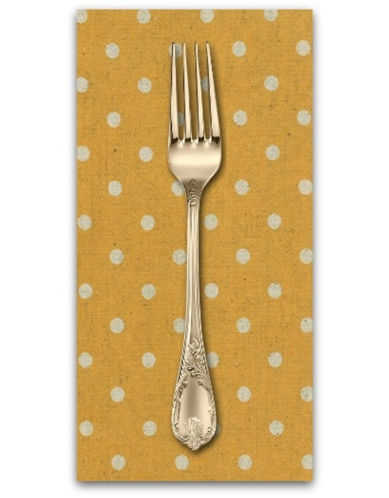 PD's Linen Blend Collection Linen Mochi Dot in Golden Wheat, Dinner Napkin