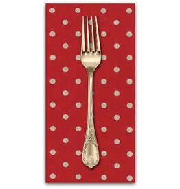 PD's Linen Blend Collection Linen Mochi Dot in Red, Dinner Napkin