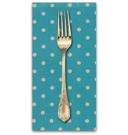 PD's Linen Blend Collection Linen Mochi Dot in Turquoise, Dinner Napkin