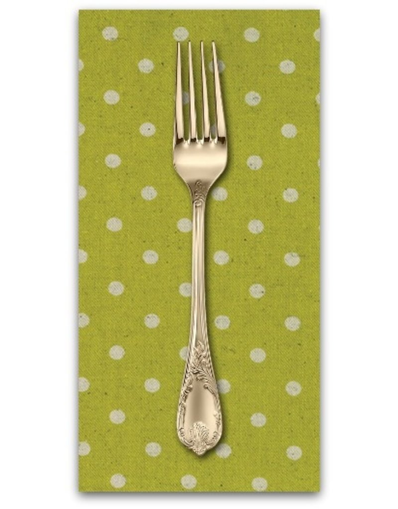 PD's Linen Blend Collection Linen Mochi Dot in Chartreuse, Dinner Napkin