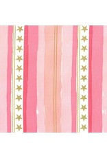 Michael Miller Brushed Cotton Flannel, Magic, Stars and Stripes in Pink, Fabric Half-Yards