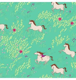 Michael Miller Brushed Cotton Flannel, Wee Wander, Summer Ride in Seafoam, Fabric Half-Yards