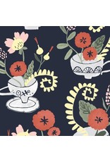 Rae Ritchie Tea Party, Tea Cup Bouquet in Denim, Fabric Half-Yards