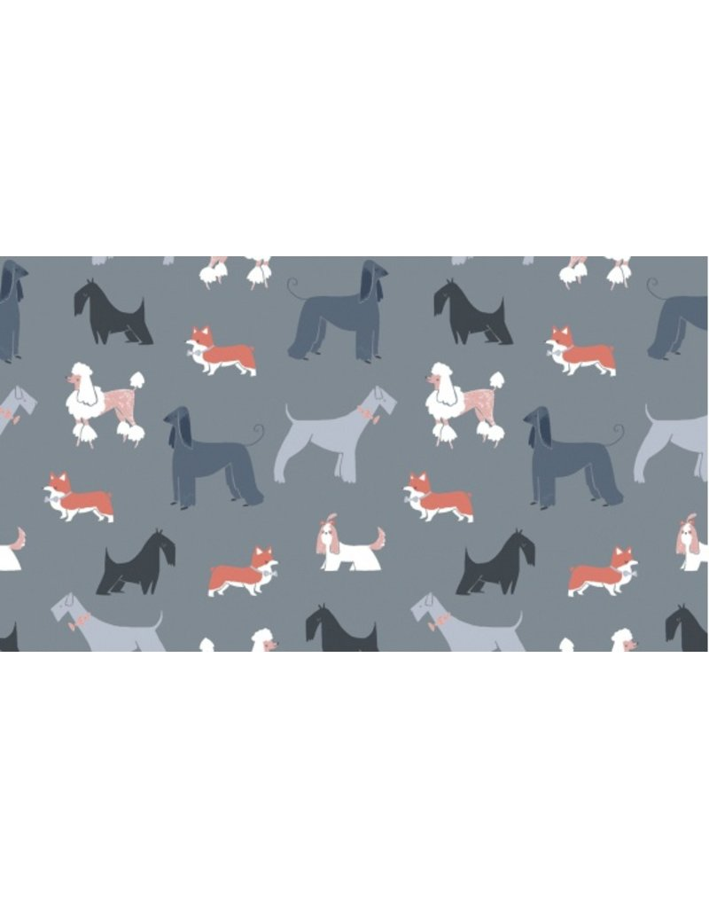 Rae Ritchie Tea Party, Show Dogs in Pewter, Fabric Half-Yards