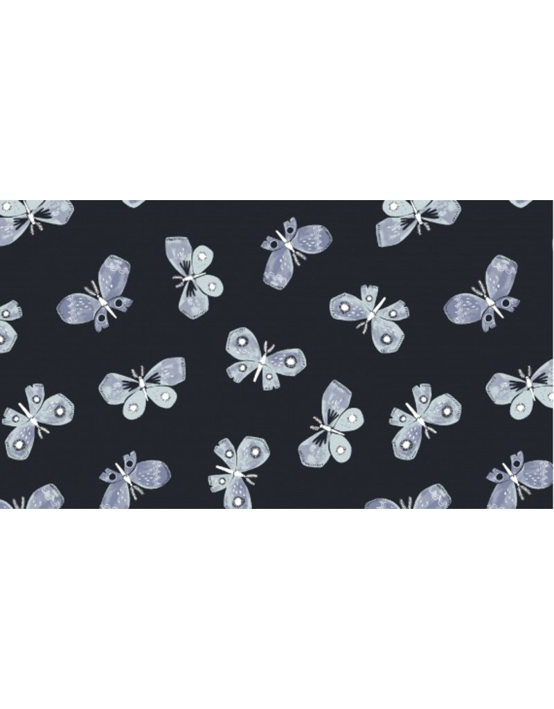 Rae Ritchie Honey Bee, Butterfiles in Navy, Fabric Half-Yards