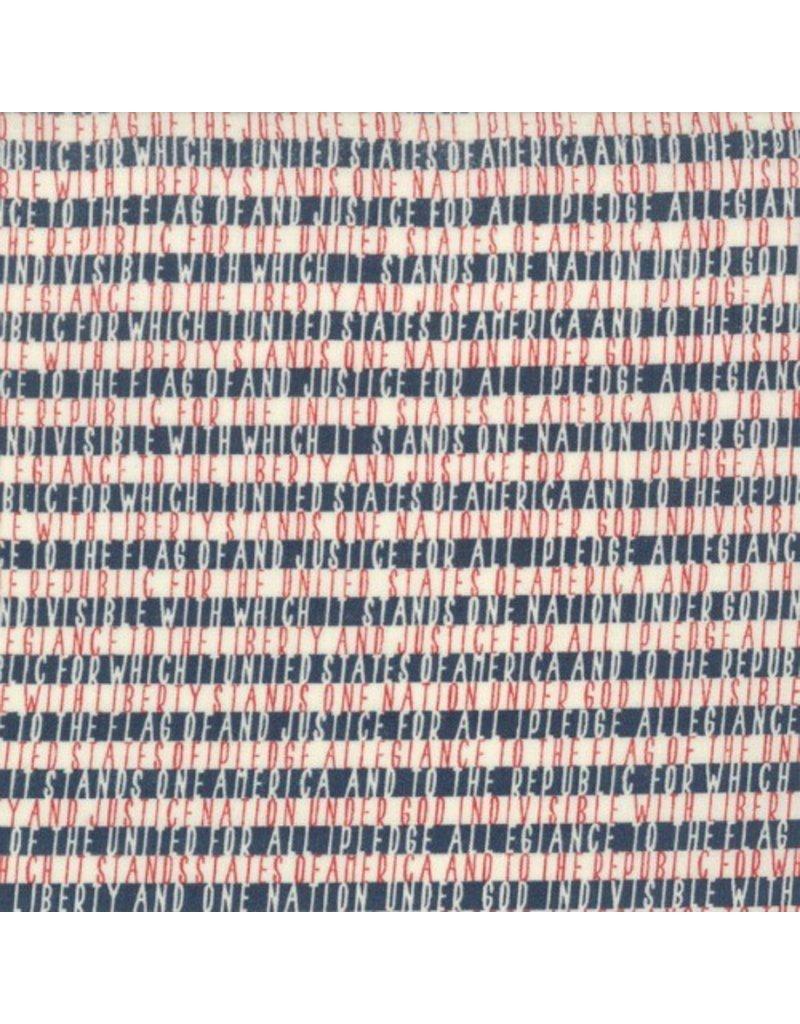 Moda Freedom, Allegiance in Vanilla Navy, Fabric Half-Yards