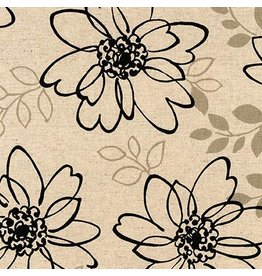 Robert Kaufman Canvas, Flax/Linen Blend, Sevenberry Sketched Flowers, Fabric Half-Yards
