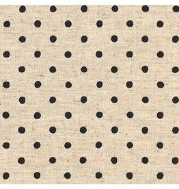 Robert Kaufman Canvas, Flax/Linen Blend, Sevenberry Natural Dots in Jet, Fabric Half-Yards