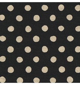 Robert Kaufman Canvas, Flax/Linen Blend, Sevenberry Natural Dots in Black, Fabric Half-Yards