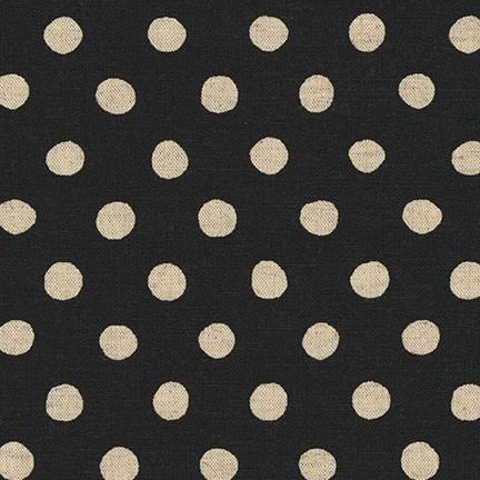 Robert Kaufman Canvas, Flax/Linen Blend, Sevenberry Natural Dots in Black, Fabric Half-Yards