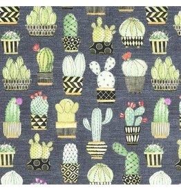 Michael Miller Lovely Llamas, Cactus Hoedown in Gray, Fabric Half-Yards