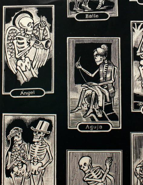 PD's Alexander Henry Collection Folklorico, Cartas de Vida in Black, Dinner Napkin