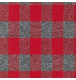 Robert Kaufman Yarn Dyed Cotton Flannel, Mammoth Flannel in Buffalo Red, Fabric Half-Yards