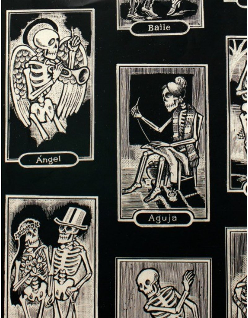 Alexander Henry Fabrics Folklorico, Cartas de Vida in Black, Fabric Half-Yards