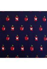 Alexander Henry Fabrics In the Kitchen, Apple a Day in Navy, Fabric Half-Yards