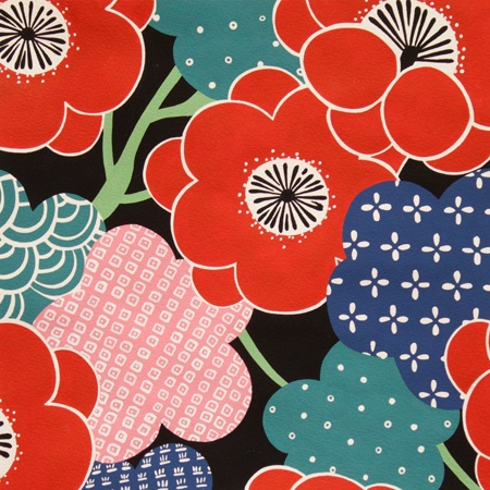 Alexander Henry Fabrics Indochine, Kiki Ume in Black, Fabric Half-Yards