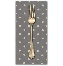 PD's Linen Blend Collection Linen Mochi Dot in Graphite, Dinner Napkin