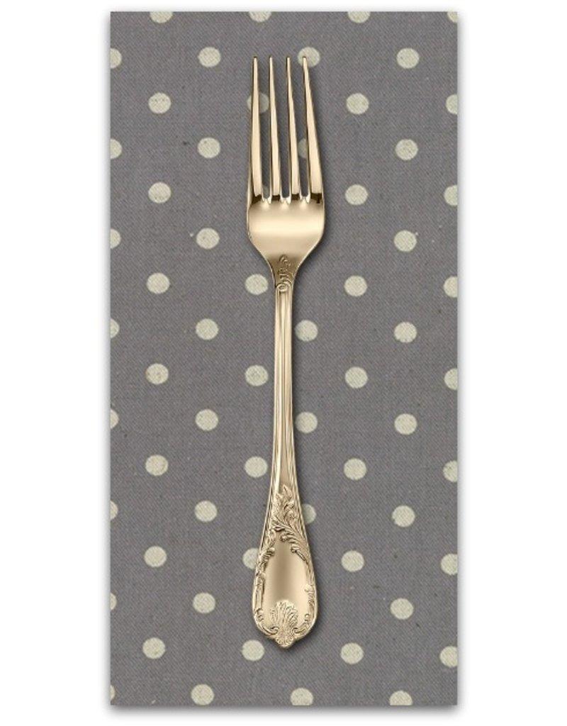 PD's Linen Blend Collection Linen Mochi Dot in Graphite, Dinner Napkin