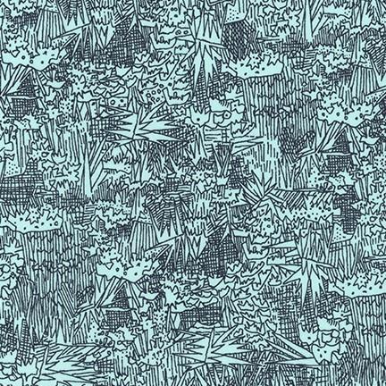 Carolyn Friedlander Cotton Lawn, Friedlander Lawn in Aqua, Fabric Half-Yards