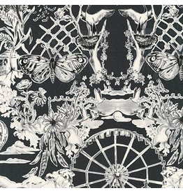 Jennifer Sampou Black and White Collection, Toile in Charcoal, Fabric Half-Yards