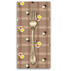 PD's Denyse Schmidt Collection Winter Walk, Floral Plaid in Bark, Dinner Napkin