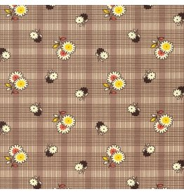 Denyse Schmidt Winter Walk, Floral Plaid in Bark, Fabric Half-Yards